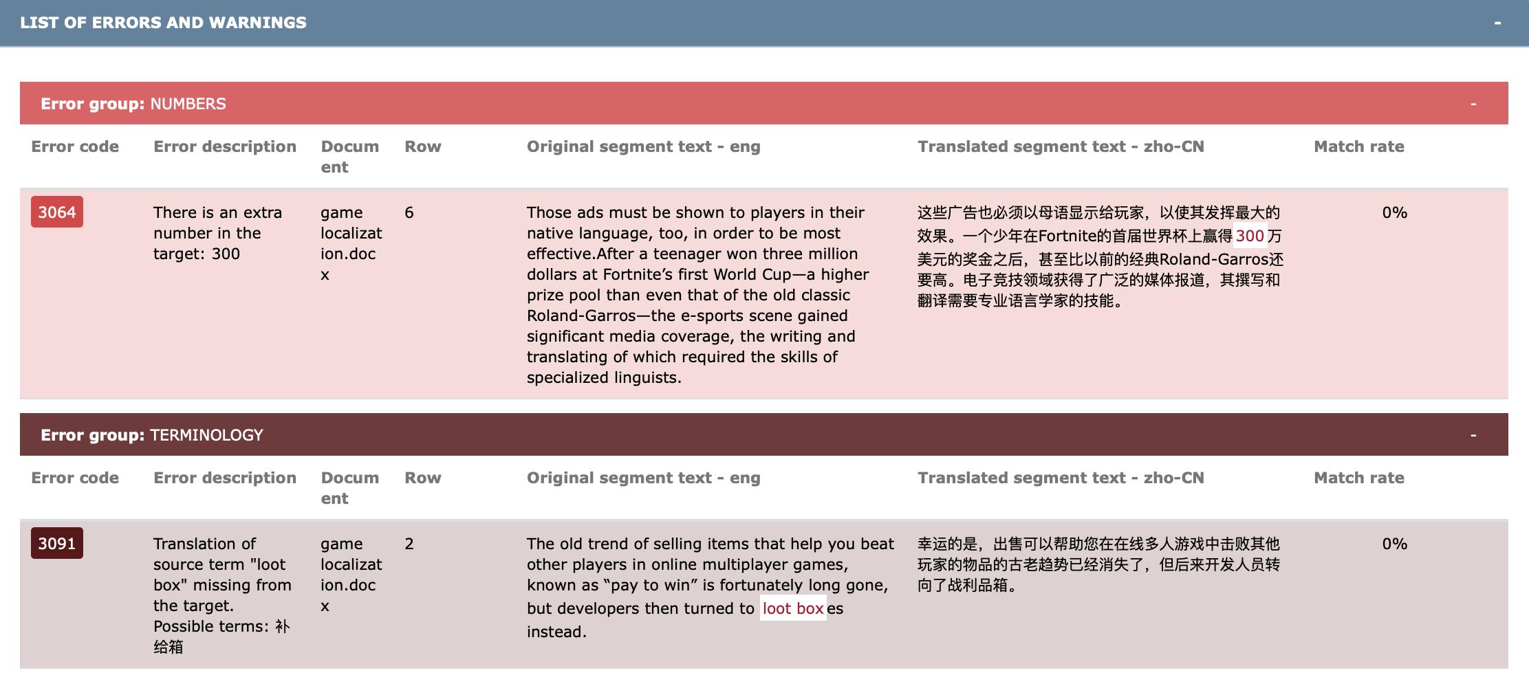 翻译质量报告1