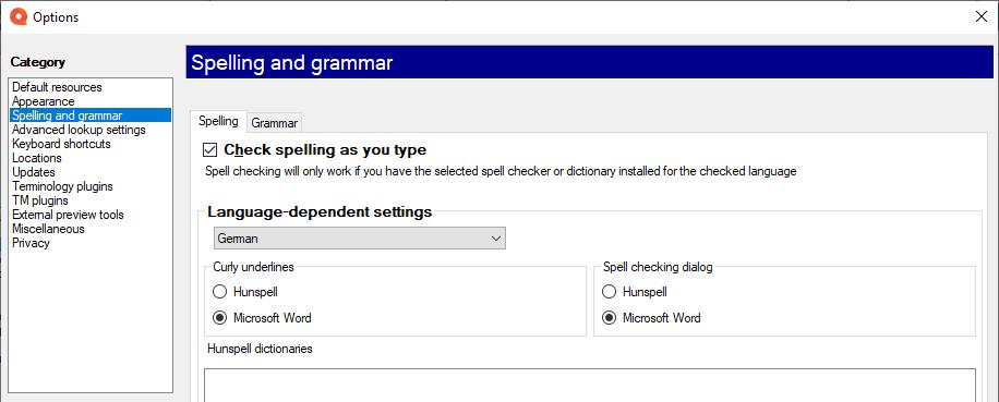 拼写和语法检查设置